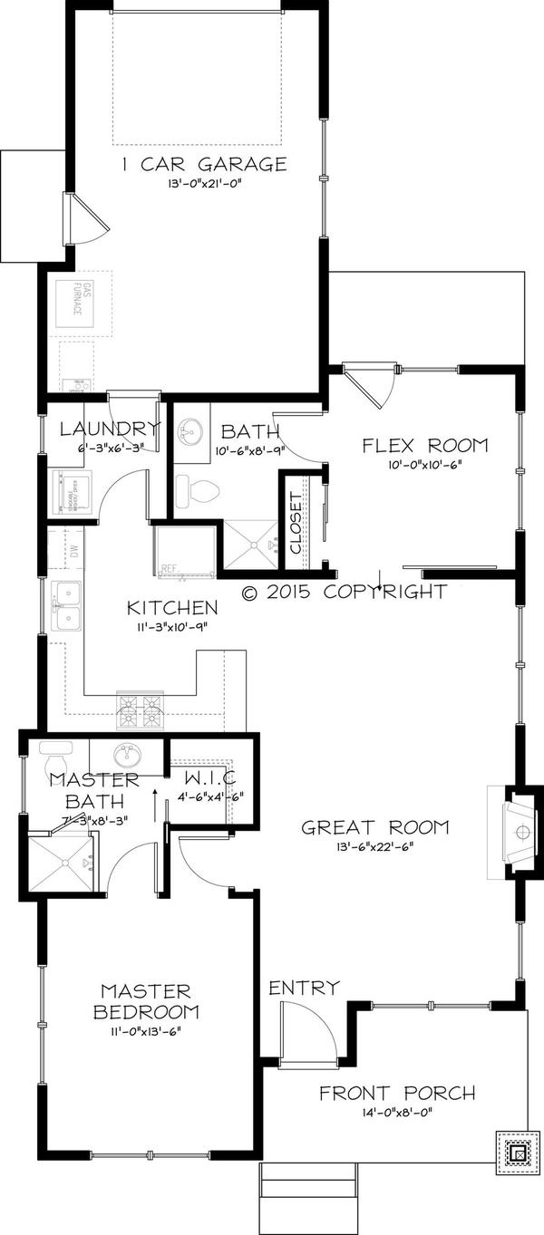 plano casa de un dormitorio
