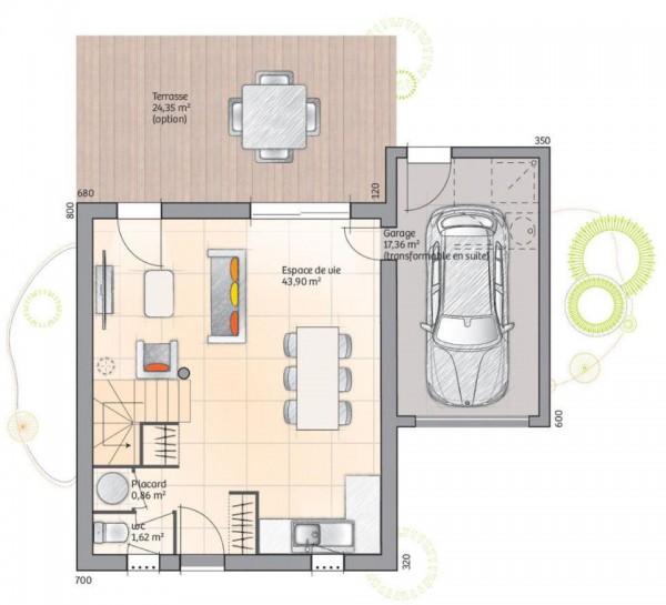 3 yatak odası ve 110 metrekare ile zemin kat planı dubleks