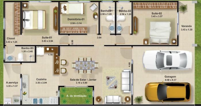 Plano de planta de casa de 3 dormitorios en 127 metros for Modelos de casas de una sola planta