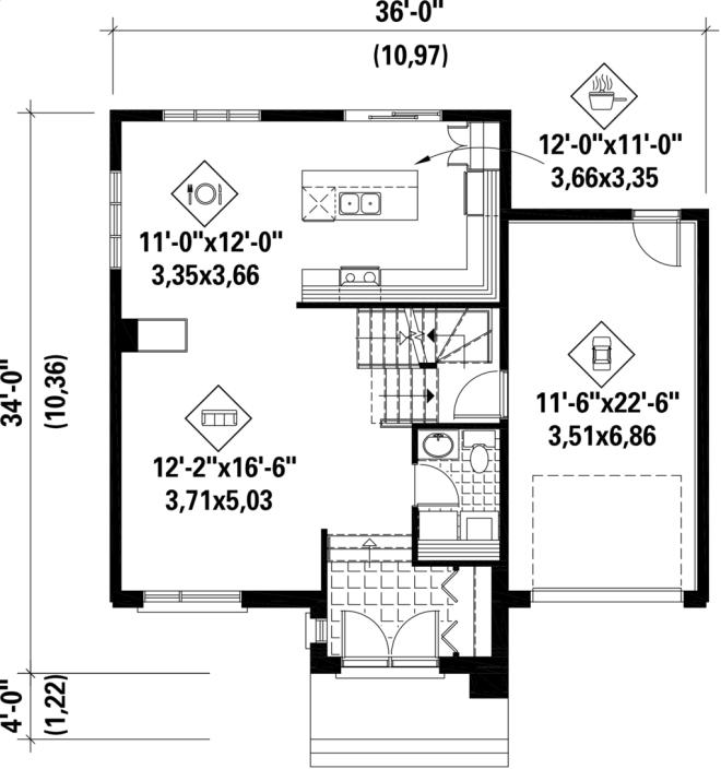 Plano planta baja casa moderna de tres dormitorios