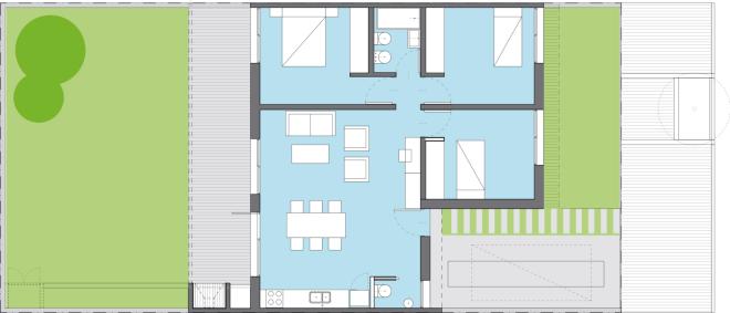 üç yatak odalı iki yüzüncü yıl ev planı