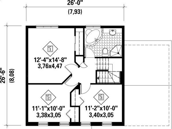 İki katlı, 3 yatak odası ve 127 metrekare ile üst kat planı klasik ev