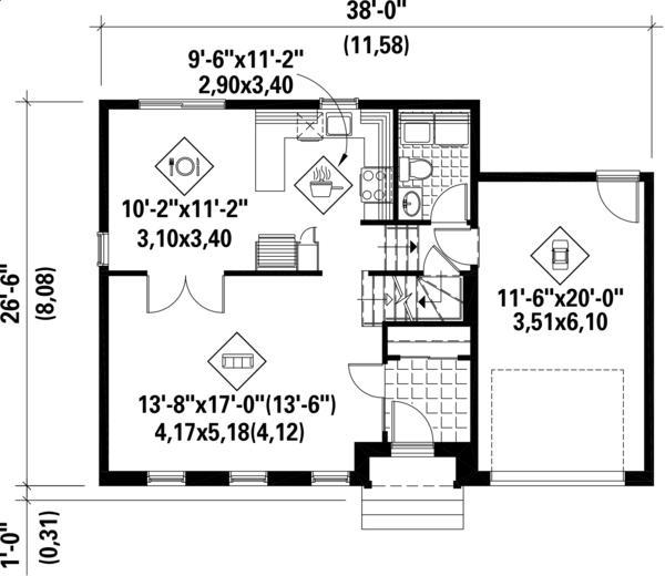Plano planta baja casa clasica de dos plantas, 3 dormitorios y 127 metros cuadrados