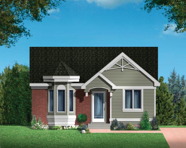 Plano de casa sencilla de dos dormitorios y 82 metros cuadrados