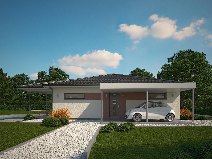 Fantastico plano en 3d de casa de una planta y tres for Casa minimalista 2 dormitorios