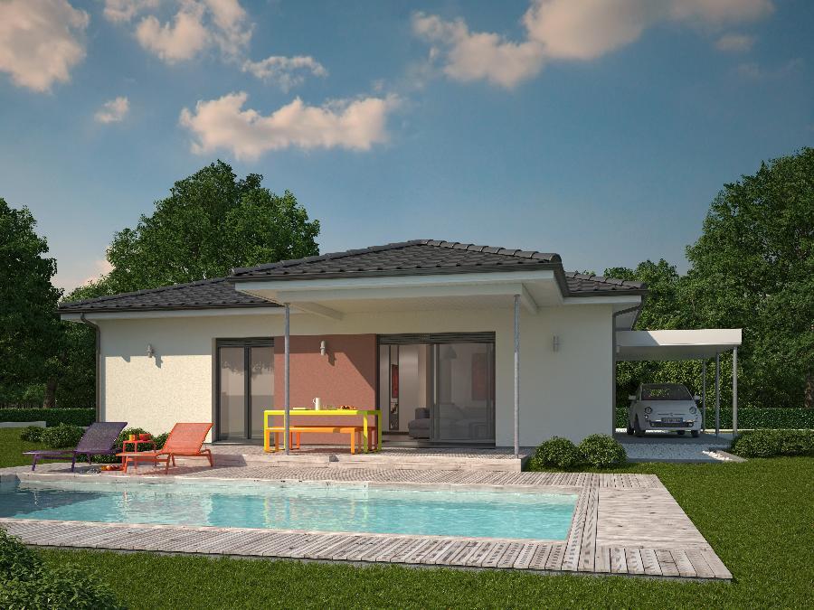 Fantastico plano en 3d de casa de una planta y tres for Fachadas para casas de una sola planta