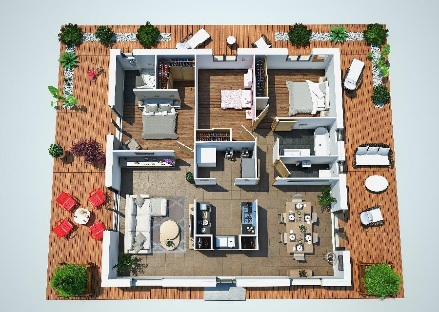 Fantastico plano en 3d de casa de una planta y tres for Planos de casas 200m2