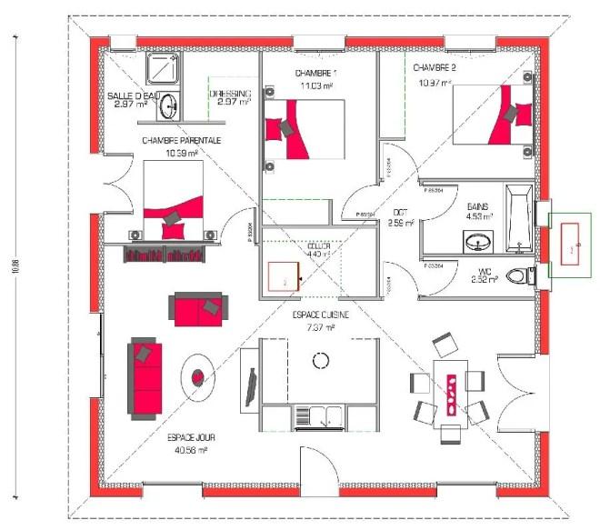 Plano casa de una planta y tres dormitorios en 90 metros cuadrados