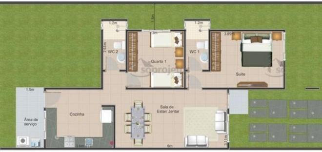 72 metrekarelik modern ev planı