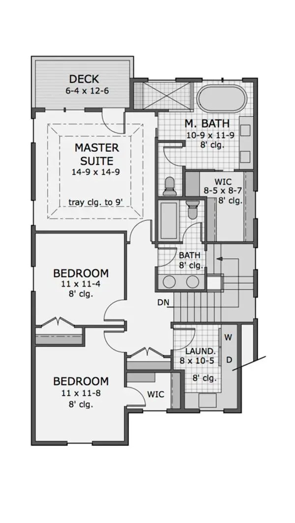 Plano planta alta casa americana de tres dormitorios