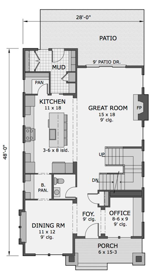 Plano planta baja casa americana de tres dormitorios