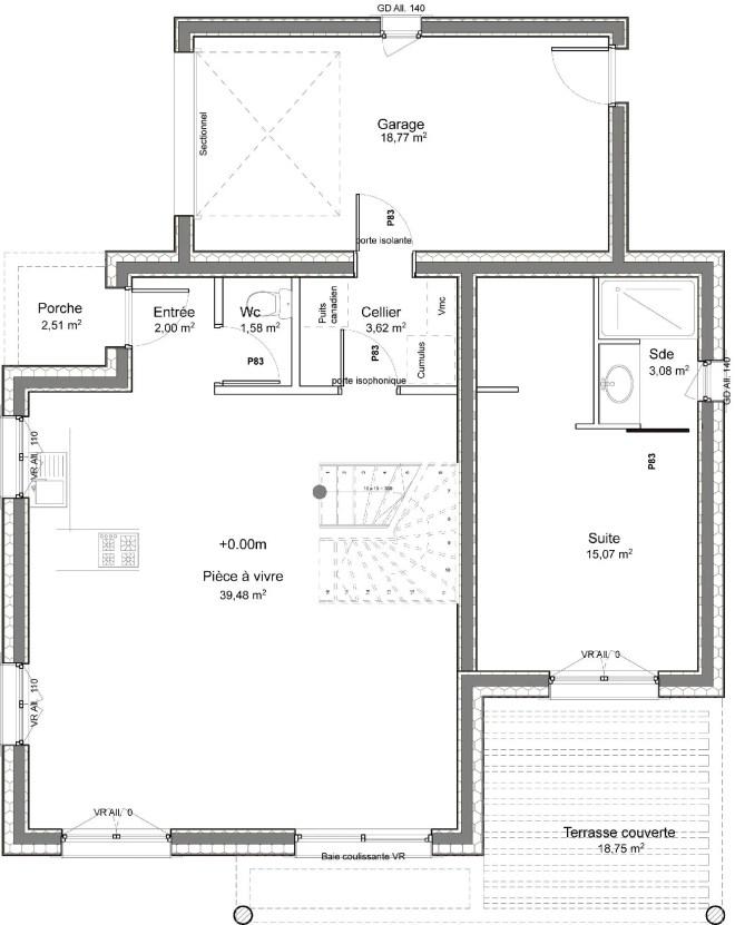 Plano planta baja casa de 4 dormitorios y 109 metros cuadrados