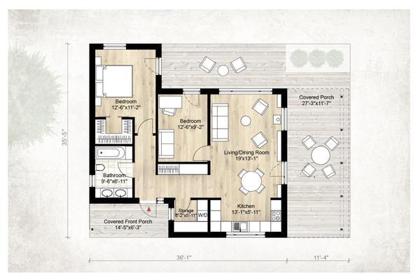 modern kabin planı