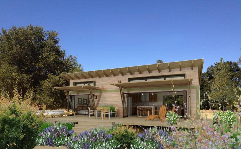 Plano en 3d de casa moderna de 1 dormitorio y 45 metros for Casas modernas 80 metros cuadrados