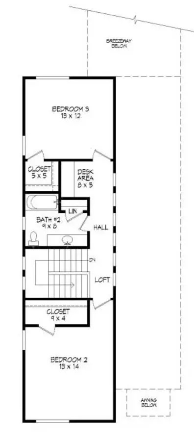 Plano planta alta casa de dos pisos y 3 dormitorios