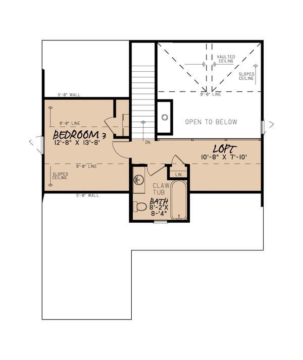 Üst katta üç yatak odalı apartman planı