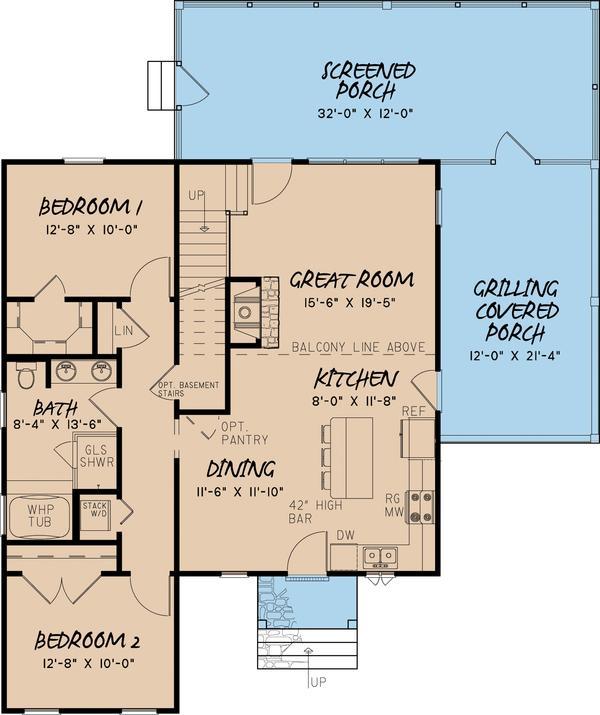 Zemin kat planı üç yatak odalı apartman