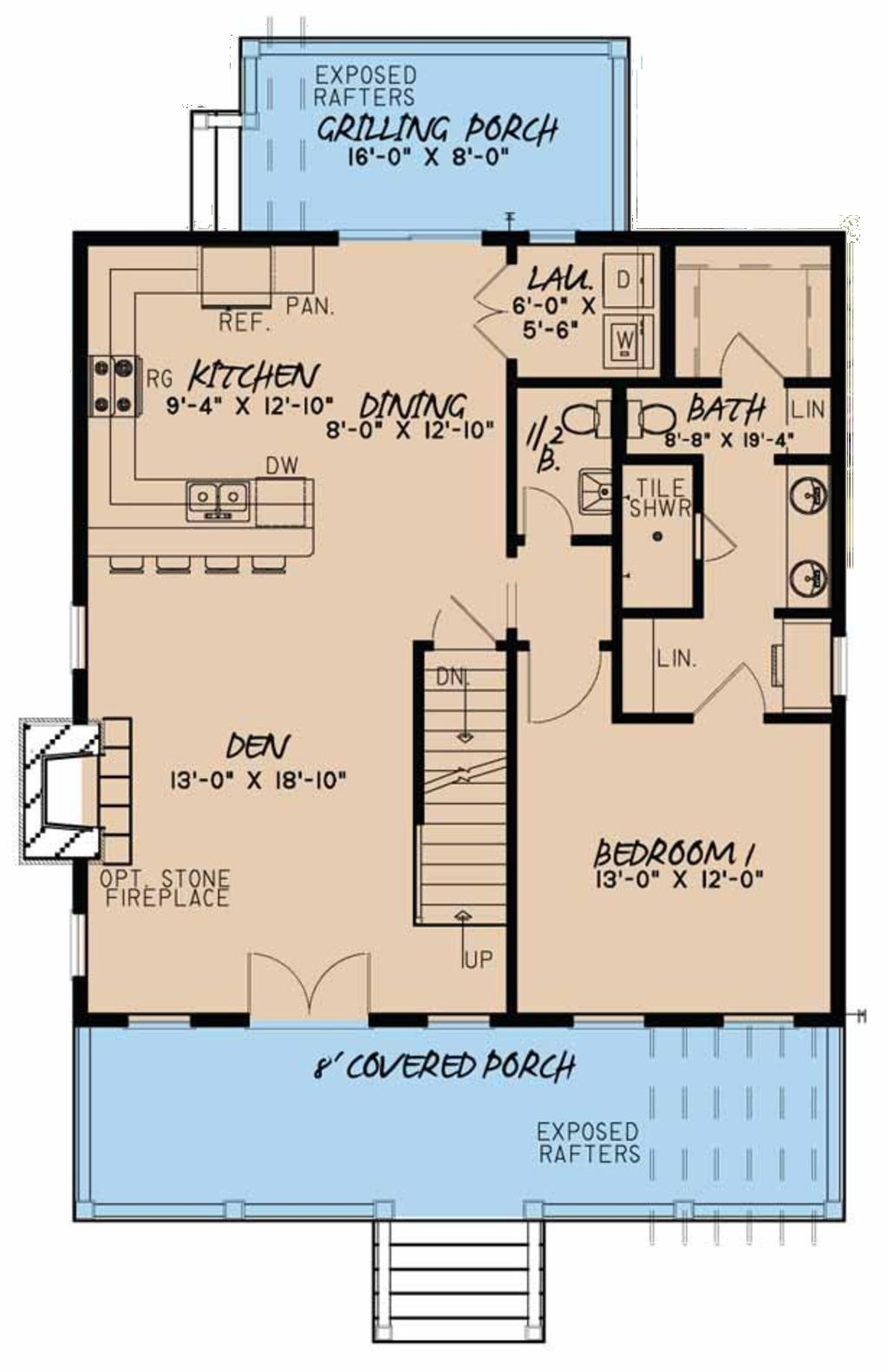 Plano de casa de dos pisos y tres dormitorios con s tano for Casa de dos plantas construyehogar