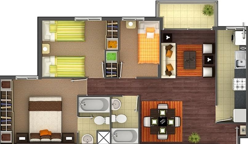 Planos de apartamentos de 3 habitaciones