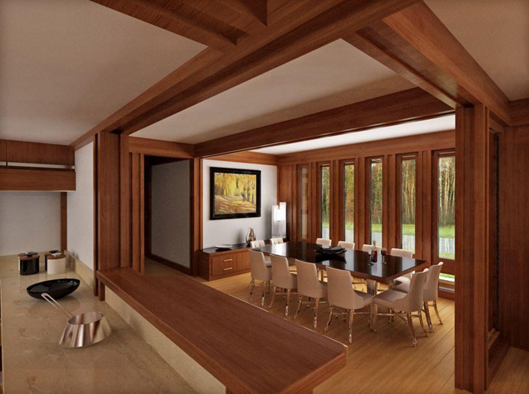 Casa de madera con bases de hormign