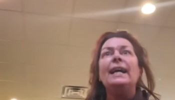 woman freaks out and goes on anti-trump rant