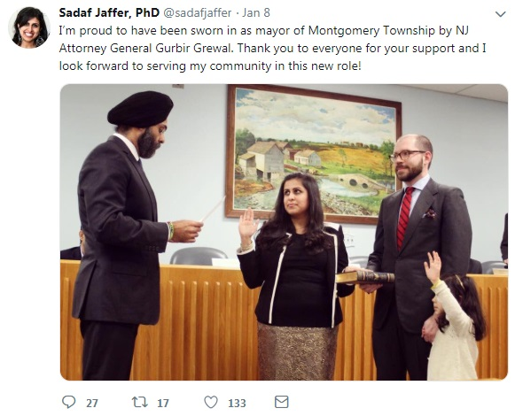 First Female Muslim Sworn in as Mayor of Montgomery Township, N.J.
