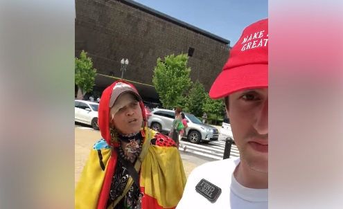 Woman freaks out over MAGA hat