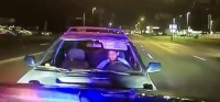 Dash cam footage shows suspected DUI driver crash into Police Officer's patrol vehicle