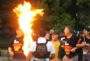 Protesters arrested after burning the American flag in front of the White House
