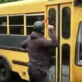 Antifa smashes windows of bus with hammers