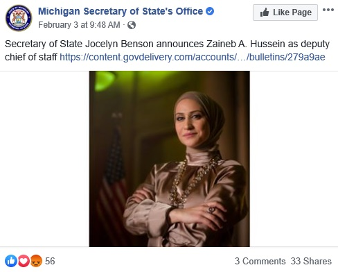 MI SOS Appoints Zaineb Hussein As Deputy Chief Of Staff