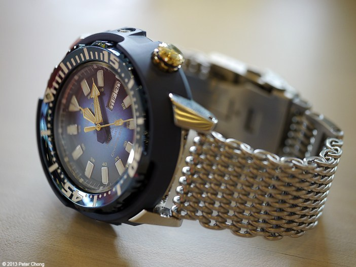 The Baby Tuna, with a very attractive blue dial and blue shroud.