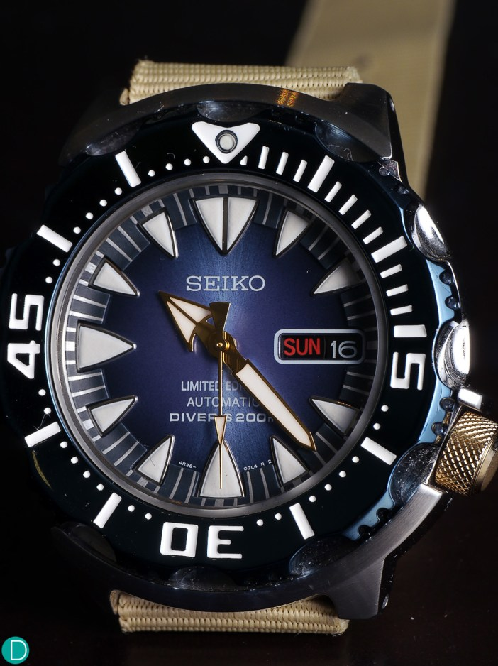 """Seiko """"Blue Monster"""" dial. Functional, but some overlapping markers."""