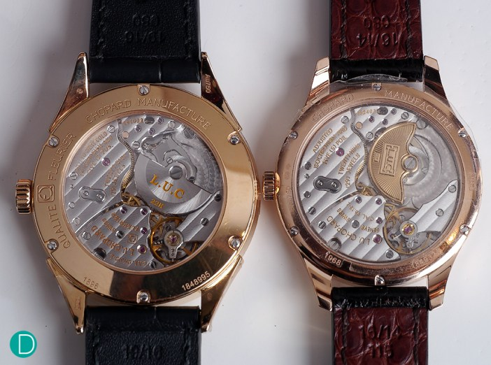 The L.U. Chopard Qualité Fleurier on the left, and the L.U. Chopard Chronometer on the right. Look at the differences in the quality of the movement.