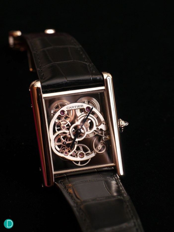 The Cartier Tank LC Squelette. The skeletonized dial adds an interesting touch to this dressy timepiece.