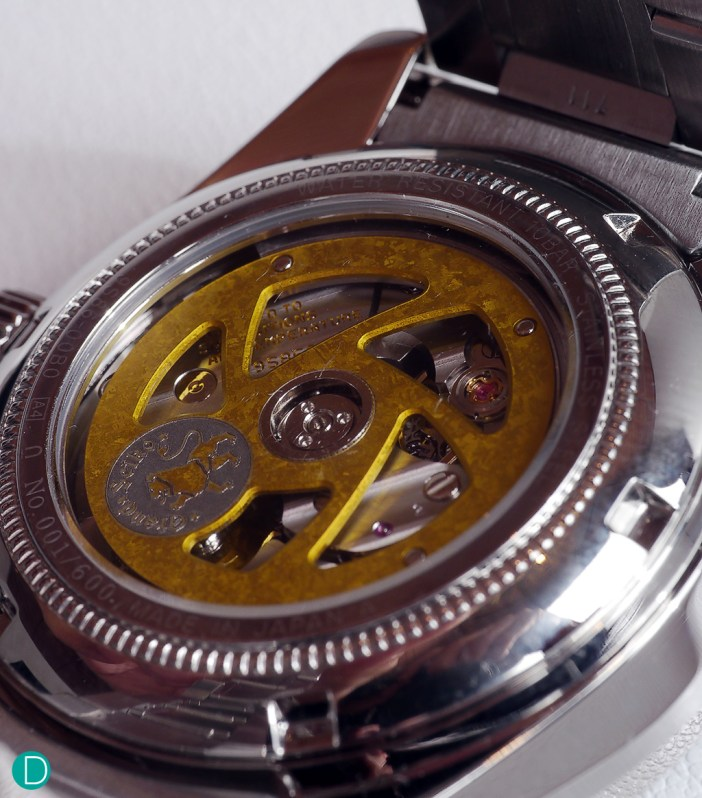 A caseback shot of the new Mechanical Hi-Beat 36000 GMT. The watch is powered by the newly-introduced Caliber 9S86.