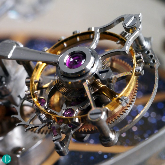 A macro shot of the tourbillon. A very fine piece of complication that sets our hearts on fire.