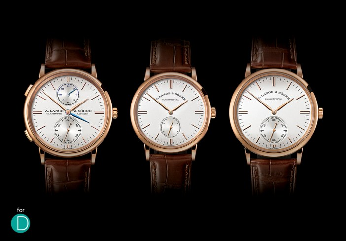 The three new Lange Saxonia from left to right: The Saxonia Dual Time, The Saxonia and The Saxonia Automatic.