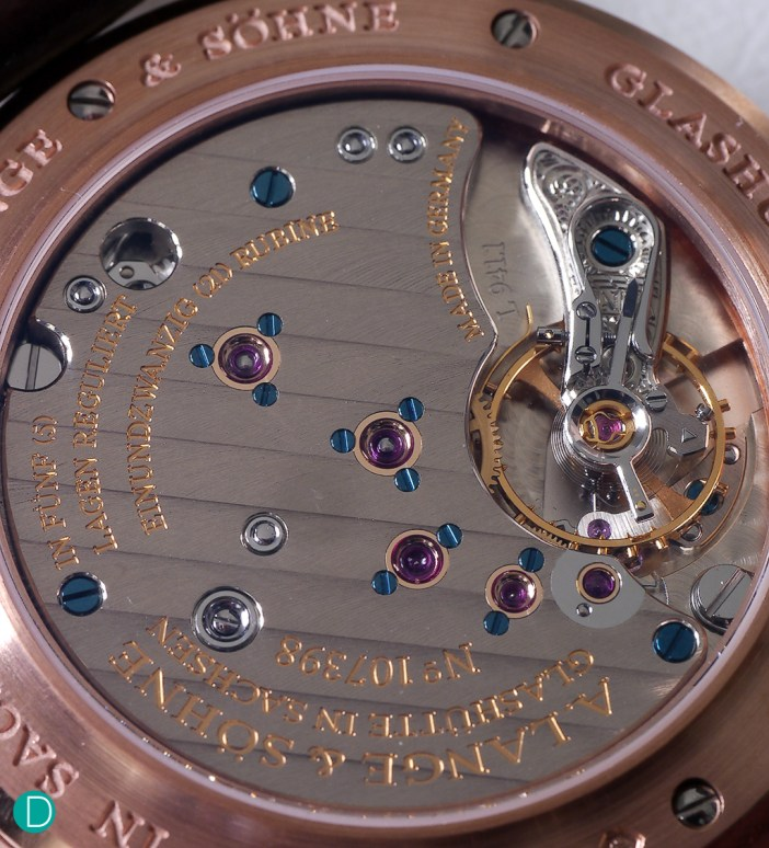 Movement of the handwound Saxonia, caliber L941.1, remains original and unchanged. Note the original screw balance wheel is still featured.