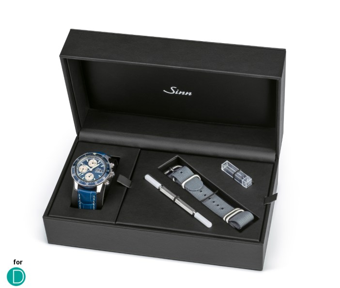 The Sinn 103 A Sa B comes with a special case, in which it includes an additional grey textile strap.