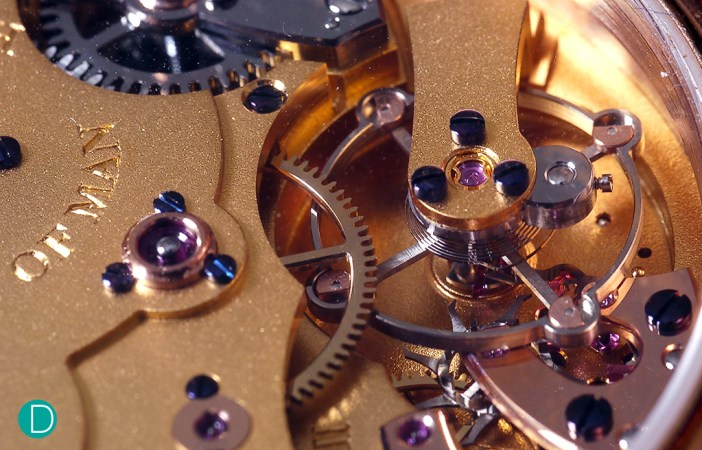 The escapement of the Roger Smith Series 2.  The escapement is a single wheel co-axial system developed by Roger Smith.