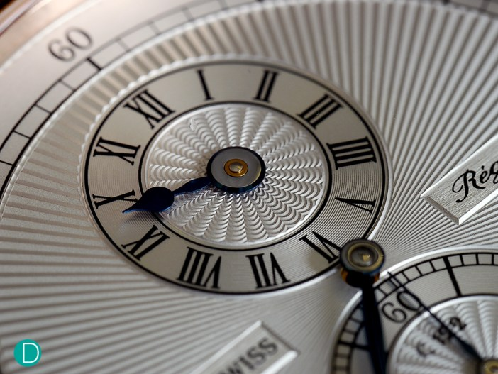 Detail of the Chronoswiss Régulateur dial. The guilloché is particularly well done, and looks amazing.