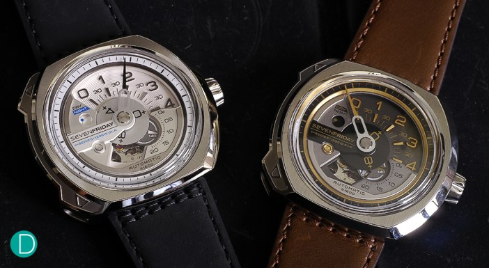 SEVENFRIDAY V1 on the left and the V2 on the right.