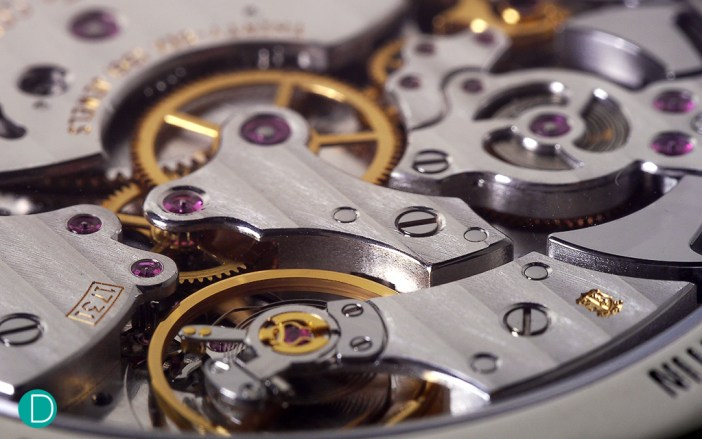 Detail of the VC 1731 movement. Showing the balance cockand the bridge holding the second wheel.