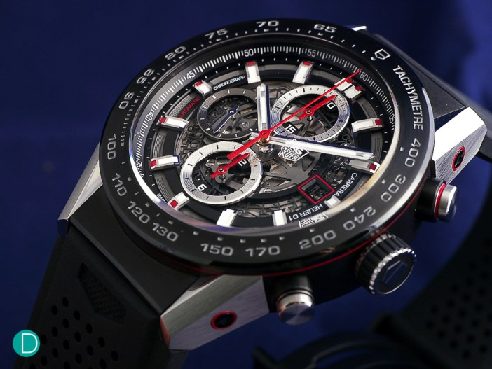 TAG Heuer Carrera Heuer 01 Chronograph with automatic winding, column wheel manufactured movement, and an open work dial.