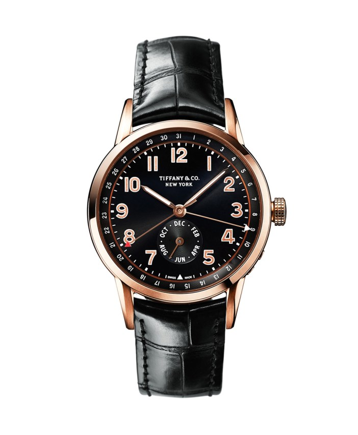 The Tiffany CT60 collection was launched in April 2015. A striking calendar watch with a masculine profile and vintage appeal. Founder Charles Lewis Tiffany's reputation as timekeeper of New York City's frenetic pace—famously referred to as the New York Minute—is richly reflected in the watch's month and date double-complication, and self-winding mechanical movement of the finest Swiss pedigree, with Côtes de Genève, Colimaçon, Perlage finishing and gold poudré numerals.