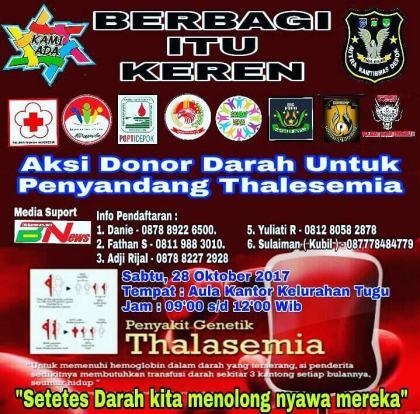 Aksi Donor Darah Untuk Penyandang Thalesemia 28 Oct 2017