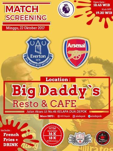 Nobar Everton vs Arsenal di Depok 22 Oct 2017