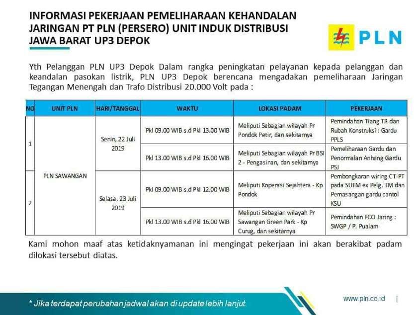 Pemadaman Listrik Bergilir di Depok 22-26 Juli 2019 PLN Sawangan - 1