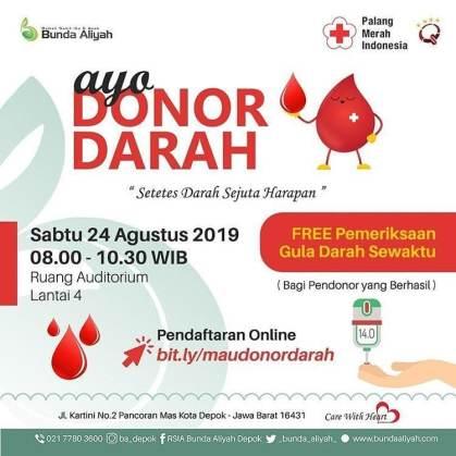 Donor Darah di RSIA Bunda Aliyah Depok 24 Agustus 2019